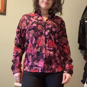 90s Patterned Button-up Blouse